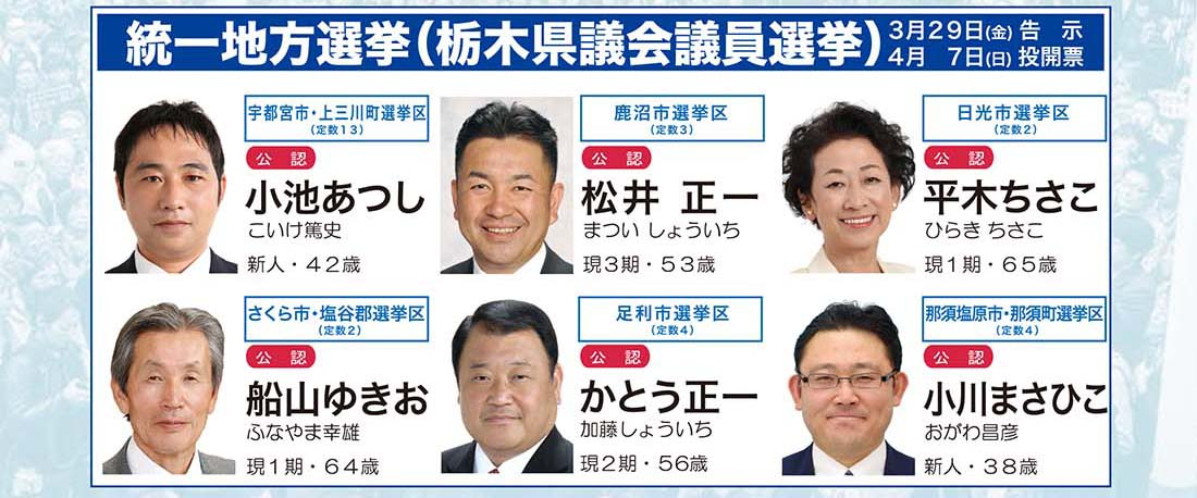 栃木県議会議員選挙、公認一覧